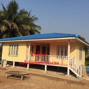 บ้านแฝดขนาด9x6 เมตร จะได้ห้องขนาด4x3เมตร 3ห้อง ห้องน้ำ 2ห้อง หลังคาทรงปั้นหยาคลุมเต็มระเบียงราคาพิเศษเพียง510,000