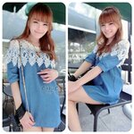 Natacha Sweet Vintage Lace Denim Dress