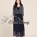 Scott suit long sleeve dress with black lace skirt
