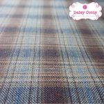 ผ้าทอญี่ปุ่น 1/4เมตร ลายตารางสีน้ำตาลตัดเส้นสีฟ้า