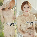 Lady Lace Pearly Embellish Dress