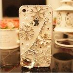 เคสไอโฟน 5/5s (Case Iphone 5/5s) กรอบโปร่งใส ประดับเพชร รูปหอคอยสีเงิน