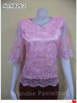 เสื้อลูกไม้แก้ว คอหัวใจ ซับด้วยผ้าต่วนอย่างดี ซิปหลัง สีชมพู เบอร์ L