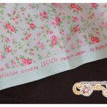 ผ้าคอตตอนญี่ปุ่นลายดอกกุหลาบสีชมพู (LECIEN) (ขนาด 45 x 55 cm.)