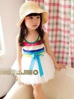 ชุดแฟชั่นเด็ก เสื้อเสายรุ้ง กระโปรงขาว  ดีไซน์เก๋ น่ารัก ผ้าเนื้อนุ่ม ใส่สบาย สไตล์เกาหลี