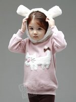 HUANZHUKIDS เสื้อกันหนาวสีชมพูแมวเหมียว มีฮู้ทสีขาว ด้านในเป็นผ้าสำลี