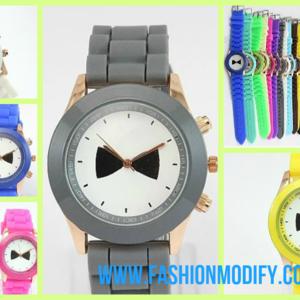 นาฬิกาข้อมือ พื้นหน้าปัดลายติดโบว์ สายซิลิโคน หนังนิ่ม สุดน่ารัก