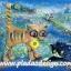 กระดาษสาพิมพ์ลาย สำหรับทำงาน เดคูพาจ Decoupage แนวภาพ การ์ตูนอย่างอา์ร์ต 2 แมวเหมียว ทะเลาะกัน แมวดำทำหน้าโกรธแมวทอง แมวทองคาบดอกไม้มาง้อแมวดำ thumbnail 1