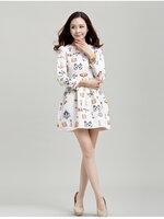 เดรสกระโปรงแฟชั่น เกาหลี พิมพ์ลายตามภาพ แขนยาวมีซิปซ่อนด้านหลัง