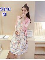 ชุดSET 2ชิ้น เสื้อคลุมแขนยาวสีชมพู + เดรสกระโปรงสายเดี่ยวลายดอกไม้