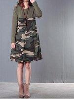 Dressกระโปรงลายทหาร ด้านบนเป็นเสื้อยืดแขนยาว สีเขียวขี้ม้า ด้านล่างเป็นผ้าฝ้ายลายทหารผ้าเนื้อนิ่มใส่สบายคะ
