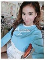 เสื้อครอปสั้นสีฟ้างาน crop แบรนด์ เป็นคัตติ้งเกาหลี [ขายส่ง 500] รับเยอะอ่านรายละเอียด