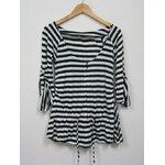 Jp2056 เสื้อคลุมผ้ายืด ลายขวาง สีขาวสลับสีดำ ผ่าหน้า แบบซิป รอบอกเสื้อ 32-33 นิ้ว