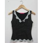 Jp1367 เสื้อกล้ามผ้ายืดสีดำ ลายจุดขาว แต่งผ้าลูกไม้ Pinky Girls รอบอก 30-32 นิ้ว