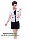 ชุดฟอร์มพนักงานเสื้อสีขาวเดรสดำ