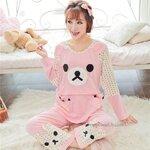 ชุดเปิดให้นม เสื้อ+กางเกงงลายหมีสีชมพู น่ารักมากๆค่ะ size L , XL