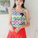 Set ColorFull PaintBrush Blouse match with Orang-Peach Tone Short by Seoul Secret