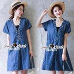 Seoul Secret Say's .... Sequinny V Furnish Denim Dress