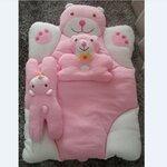 ชุดเซ็ตที่นอนคุณนู๋ สีชมพู ที่นอนหมี+หมอนหลุมลูกหมี+หมอนข้างลูกหมี งานดีค่ะ