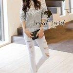 Chill Chill Softly Gray Blouse V Shape Lace Furnish by Seoul Secret