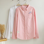 เสื้อเชิ้ตสไตล์ญี่ปุ่นปักลายนก งานคัตติ้ง แบบเป๊ะ 100% [ขายส่ง550.-*]