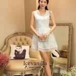 Luxury Jewels &pearl lace Dress ฺblue