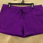 เอว36-38 แบรนด์ jcp กางเกงคนอ้วน ขาสั้นผ้าคอตต้อน สีม่วง มีเชือกช่วยรัดเอว