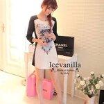 Luxury vintage Print Dress Style Korea