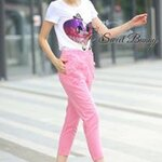 Shine Gom tee and pink lace pocket trouser set by Sweet Bunny