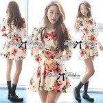 Lady Ribbon's Made Lady Matina Flowery Blossoms Flared Dress