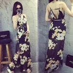 Maxi dress ลายดอกสีดำ [ขายส่ง320.-*]