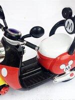 *ขายปลีก*รถแบตมอเตอร์ไซด์แบตเตอรี่ Mickey มีพนักพิง *แดง* *ส่งฟรี*