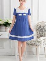 Dressกระโปรงผ้าชีฟองสีฟ้า แขนสั้น ช่วงคอเป็นผ้าสีขาว ชายเสื้อคาดด้วยผ้าสีขาว พร้อมเชือกผูกหลัง รูปทรงน่ารักกิ๊บเก๋ สีสันสดใสน่าใส่มากค้ะ