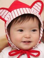 หมวกอุ่นน่ารักมีสายรัดคาง สำหรับเด็ก2-12เดือน สีแดง