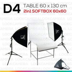 D4 โต๊ะถ่ายภาพสินค้าแบบปรับองศาได้ 60x130 + SOFTBOX 6060