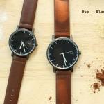 นาฬิกาคู่ นาฬิกาคู่รัก ยี่ห้อ N.IX watch รุ่น Duo Project - Silver/Brown