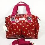 กระเป๋า Chalita wu + สายสะพาย สีเลือดหมู ลายจุด