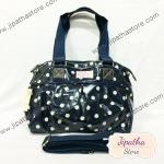 กระเป๋า Chalita wu + สายสะพาย สีดำกรม ลายจุด