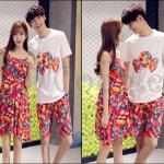 PRE-ORDER ชุดคู่รักเกาหลีใหม่ แฟชั่นโบฮีเมียนฤดูร้อนสีสันสดใส ญ.เดรสสั้น/ช.เสื้อยืด+กางเกงขาสั้น