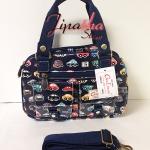 กระเป๋าถือ+สะพาย Chalita wu สีกรม ลายรถยนต์