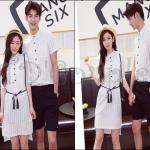 PRE-ORDER ชุดคู่รักเกาหลีใหม่ เชิ้ตผ้าบางแฟชั่นฤดูร้อนออกแบบลายทาง ญ.เดรสสั้น/ช.เสื้อเชิ้ตแขนสั้น