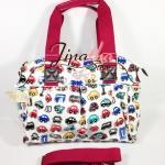 กระเป๋า Chalita wu + สายสะพาย สีขาว ลายรถยนต์