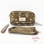 กระเป๋าคล้องมือ + สายสะพาย Chalita wu สีน้ำตาล ลายจุด