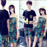 PRE-ORDER ชุดคู่รักเกาหลีใหม่ แฟชั่นฤดูร้อนเซตบีชชายหาดสีสันสดใส ญ.เดรสเกาะอก/ช.เสื้อยืด+กางเกงขาสั้น