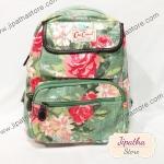 กระเป๋าเป้ Chalita wu สีเขึยว ลายดอกไม้