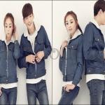 PRE-ORDER เสื้อกันหนาวคู่รัก เกาหลีใหม่แฟชั่นฤดูหนาว เสื้อแจ็คเก็ตกันหนาวยีนส์+กำมะหยี่ ญ/ช.เสื้อแจ็คเก็ต