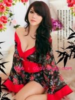 ชุดยูกาตะสั้นสีดำตัดแดงลายดอกกุหลาบสวยเซ็กซี่